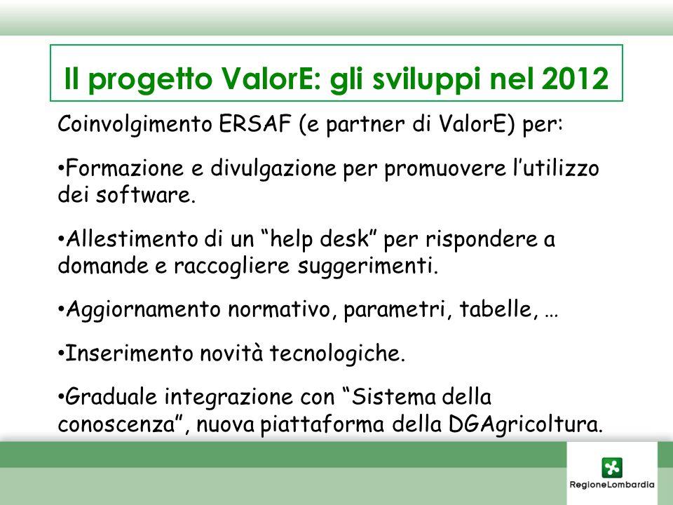 Il progetto ValorE: gli sviluppi nel 2012 Coinvolgimento ERSAF (e partner di ValorE) per: Formazione e divulgazione per promuovere lutilizzo dei software.