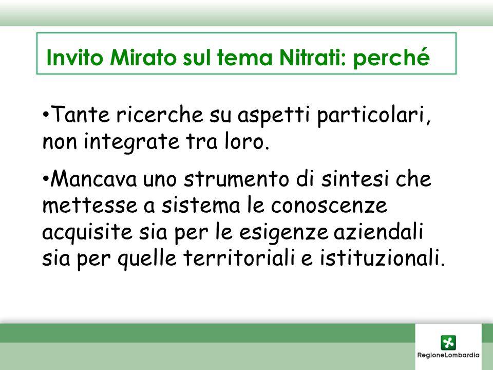 Invito Mirato sul tema Nitrati: perché Tante ricerche su aspetti particolari, non integrate tra loro.