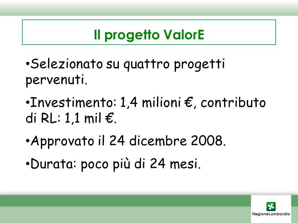Il progetto ValorE Selezionato su quattro progetti pervenuti.