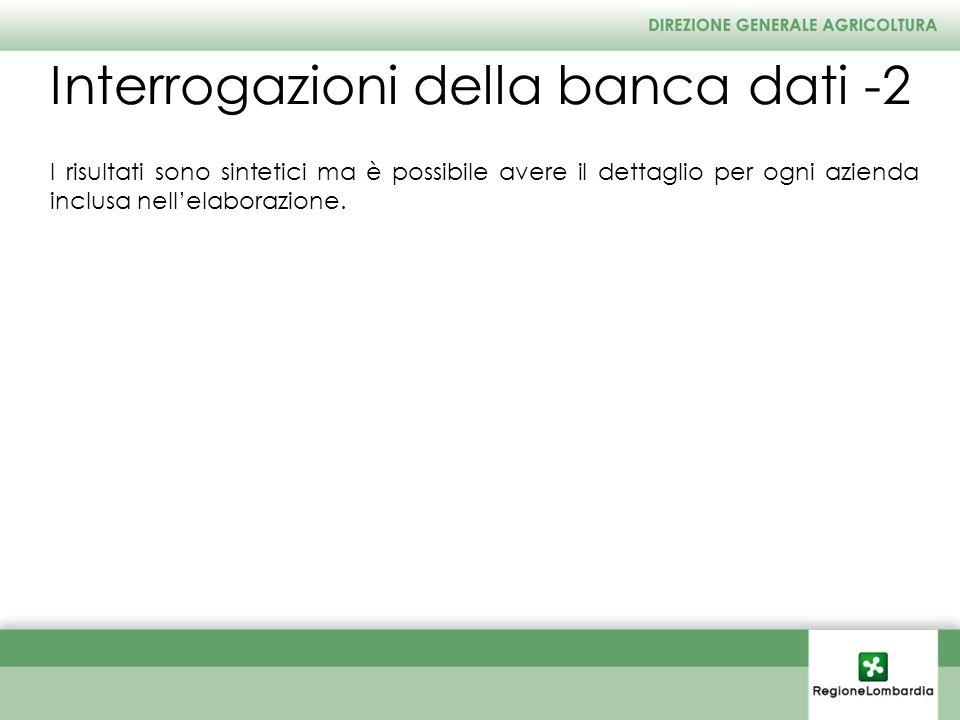Interrogazioni della banca dati -2 I risultati sono sintetici ma è possibile avere il dettaglio per ogni azienda inclusa nellelaborazione.