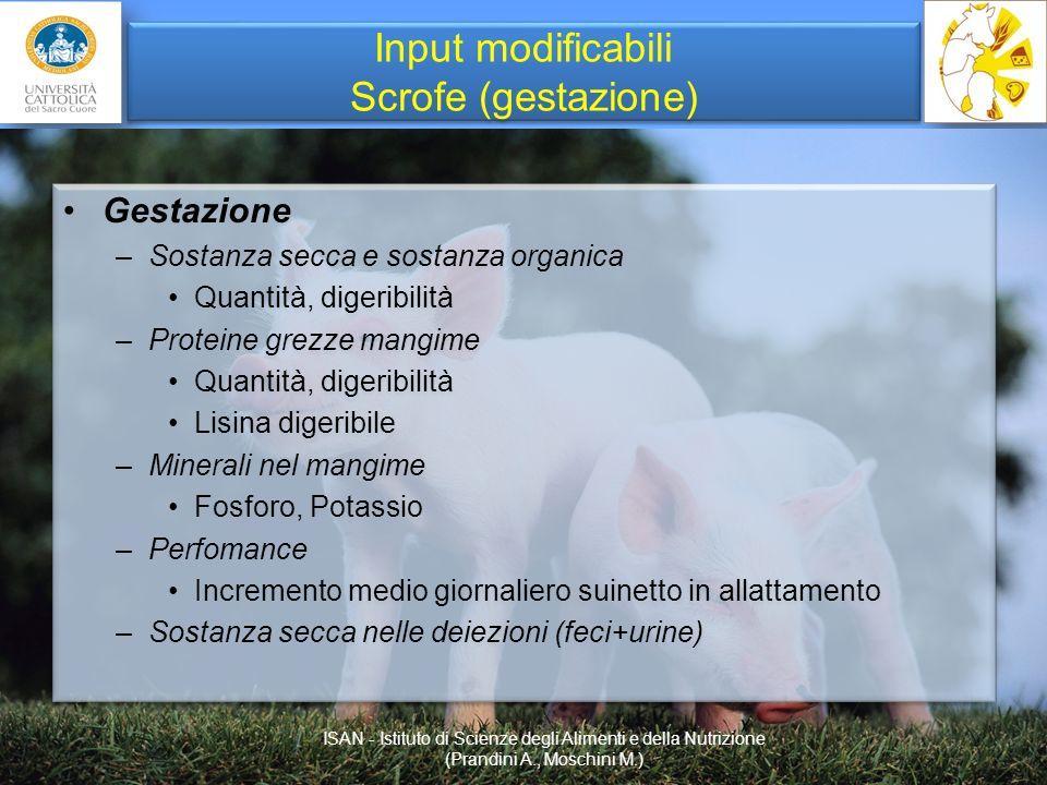 Input modificabili Scrofe (gestazione) Gestazione –Sostanza secca e sostanza organica Quantità, digeribilità –Proteine grezze mangime Quantità, digeri