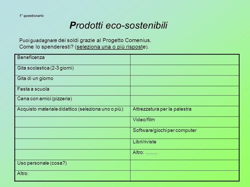 1° questionario Prodotti eco-sostenibili Puoi guadagnar e dei soldi grazie al Progetto Comenius.