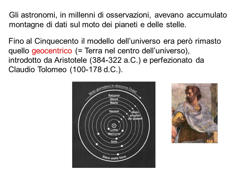 Gli astronomi, in millenni di osservazioni, avevano accumulato montagne di dati sul moto dei pianeti e delle stelle. Fino al Cinquecento il modello de