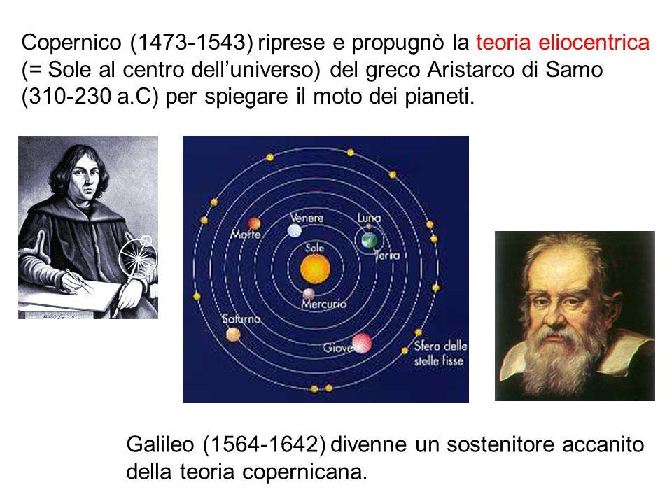 Copernico (1473-1543) riprese e propugnò la teoria eliocentrica (= Sole al centro delluniverso) del greco Aristarco di Samo (310-230 a.C) per spiegare
