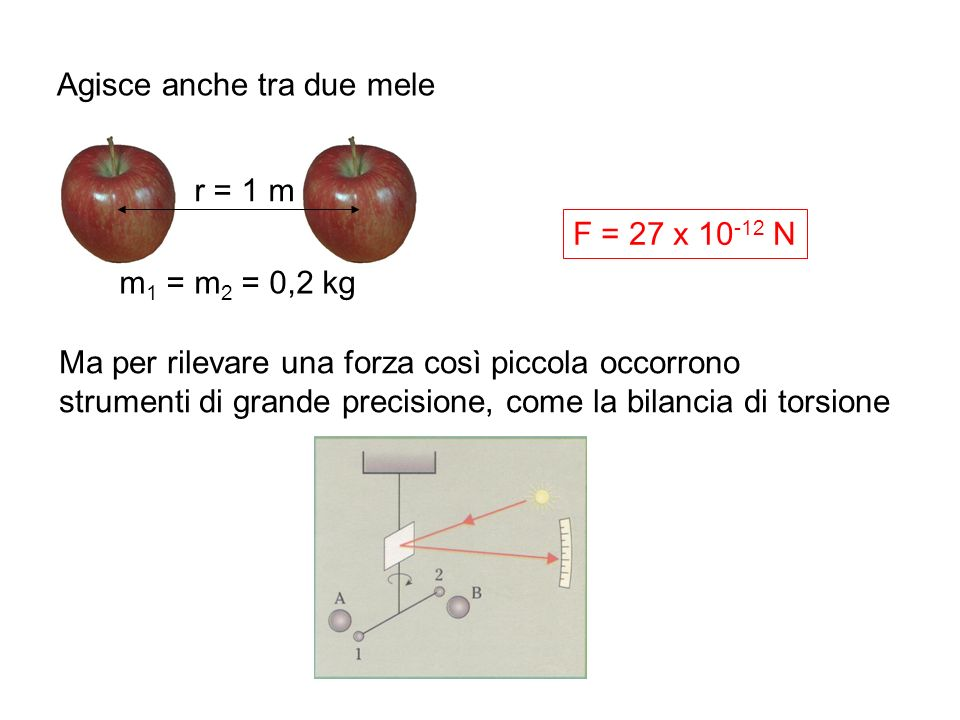 Agisce anche tra due mele r = 1 m Ma per rilevare una forza così piccola occorrono strumenti di grande precisione, come la bilancia di torsione m 1 =