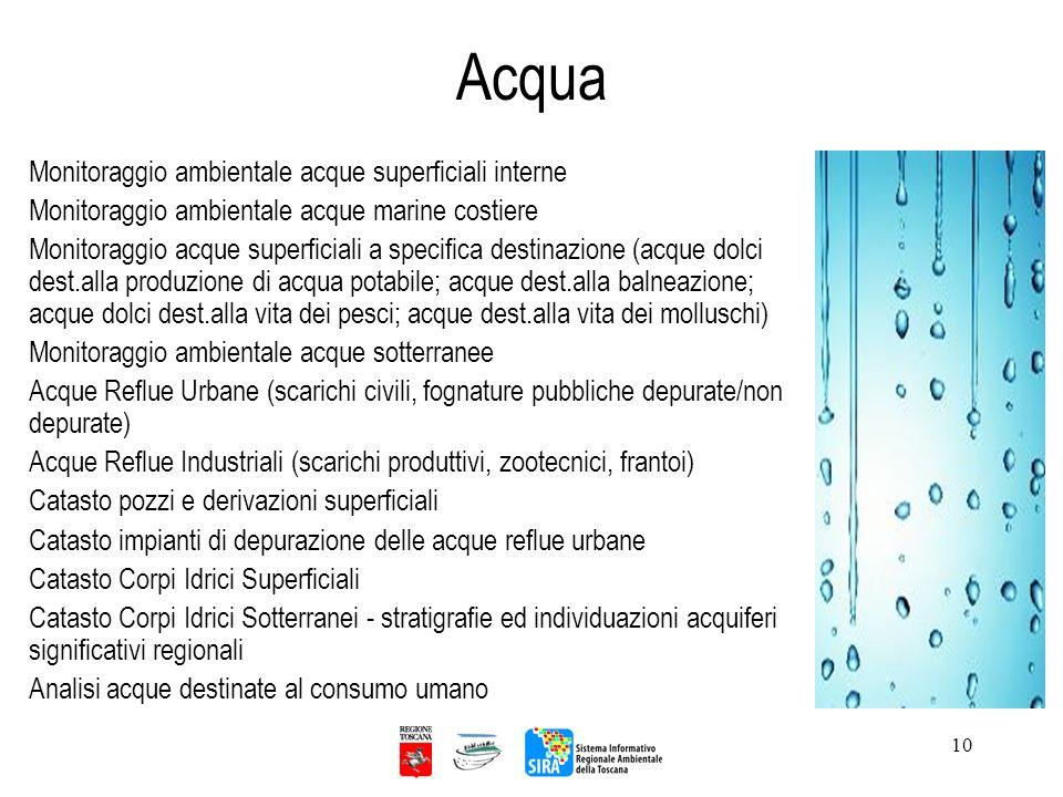 10 Acqua Monitoraggio ambientale acque superficiali interne Monitoraggio ambientale acque marine costiere Monitoraggio acque superficiali a specifica