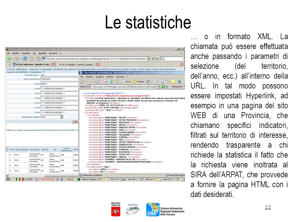 22 Le statistiche … o in formato XML. La chiamata può essere effettuata anche passando i parametri di selezione (del territorio, dellanno, ecc.) allin