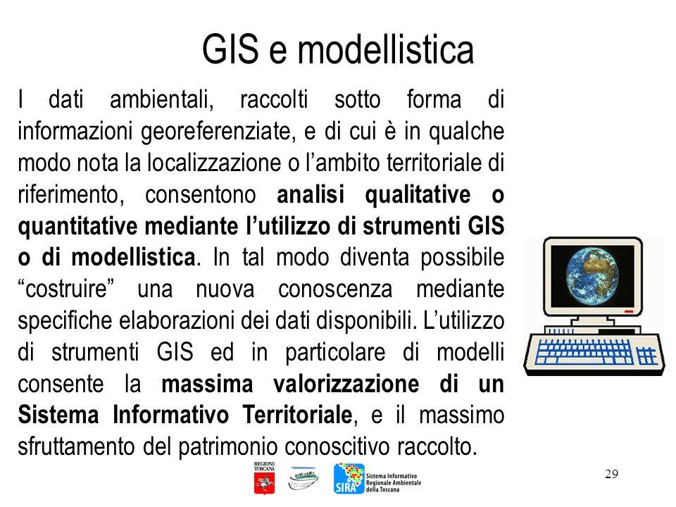 29 GIS e modellistica I dati ambientali, raccolti sotto forma di informazioni georeferenziate, e di cui è in qualche modo nota la localizzazione o lam