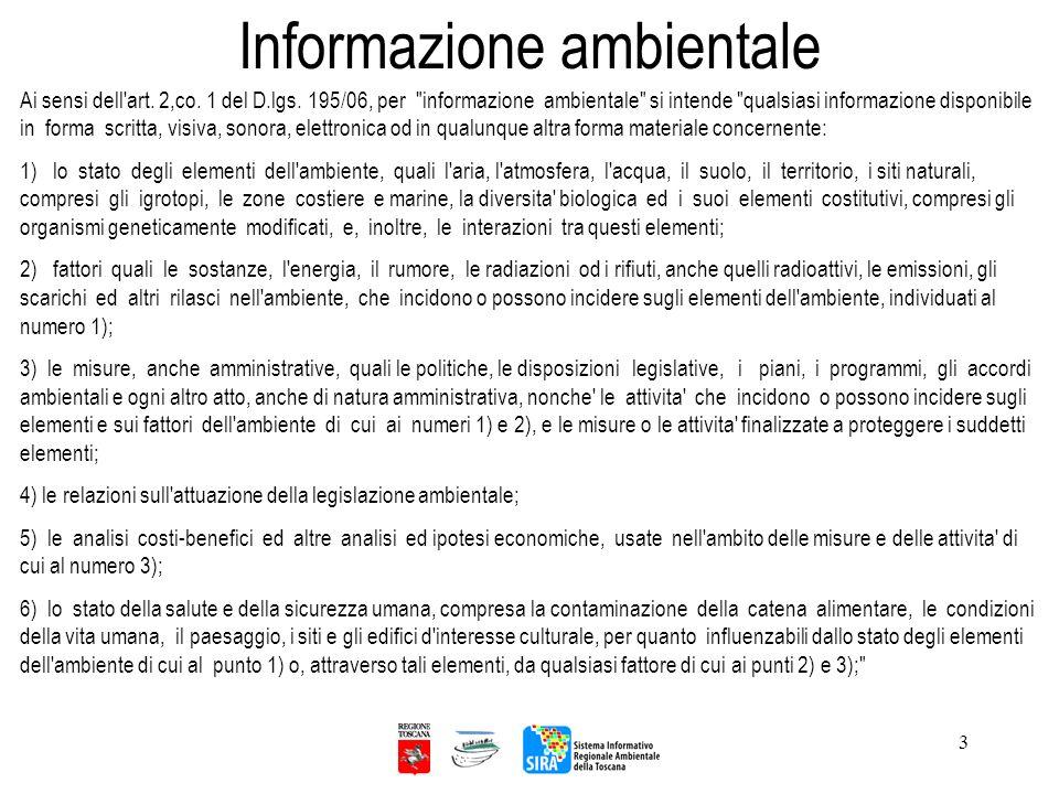 3 Informazione ambientale Ai sensi dell'art. 2,co. 1 del D.lgs. 195/06, per