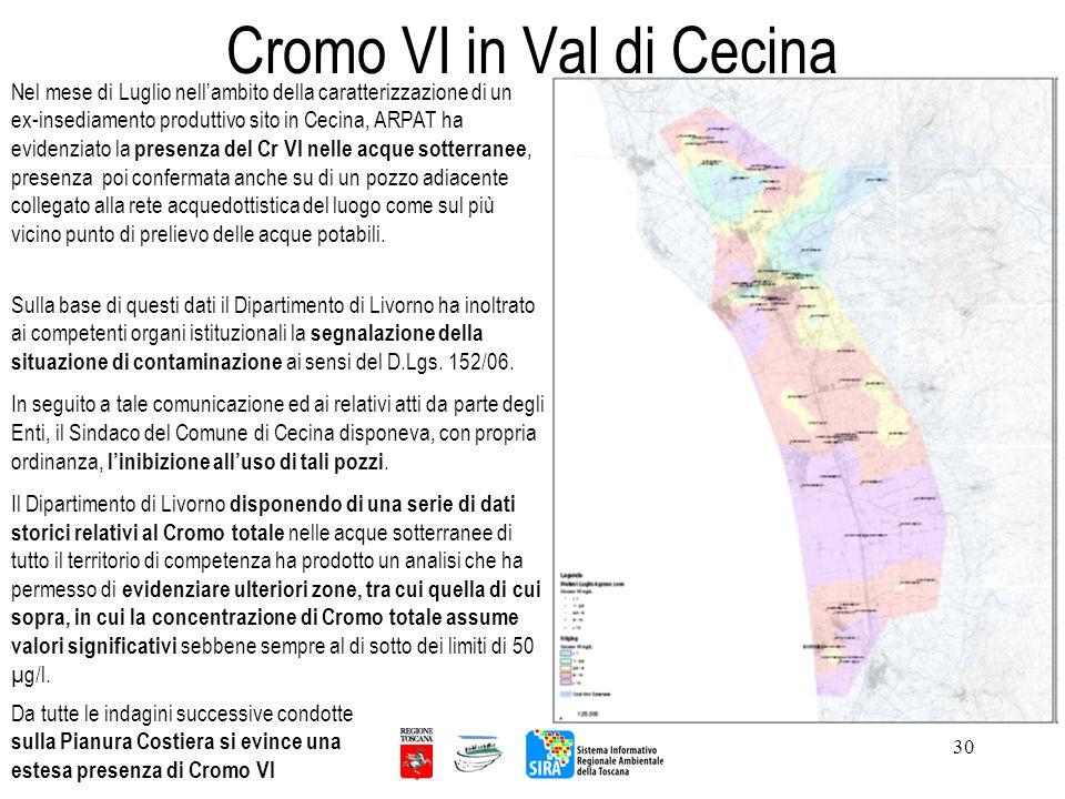 30 Cromo VI in Val di Cecina Nel mese di Luglio nellambito della caratterizzazione di un ex-insediamento produttivo sito in Cecina, ARPAT ha evidenzia