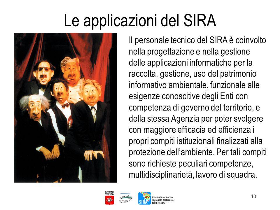 40 Le applicazioni del SIRA Il personale tecnico del SIRA è coinvolto nella progettazione e nella gestione delle applicazioni informatiche per la racc