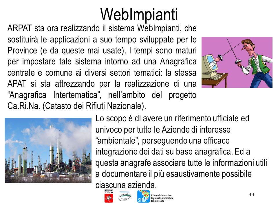 44 ARPAT sta ora realizzando il sistema WebImpianti, che sostituirà le applicazioni a suo tempo sviluppate per le Province (e da queste mai usate). I