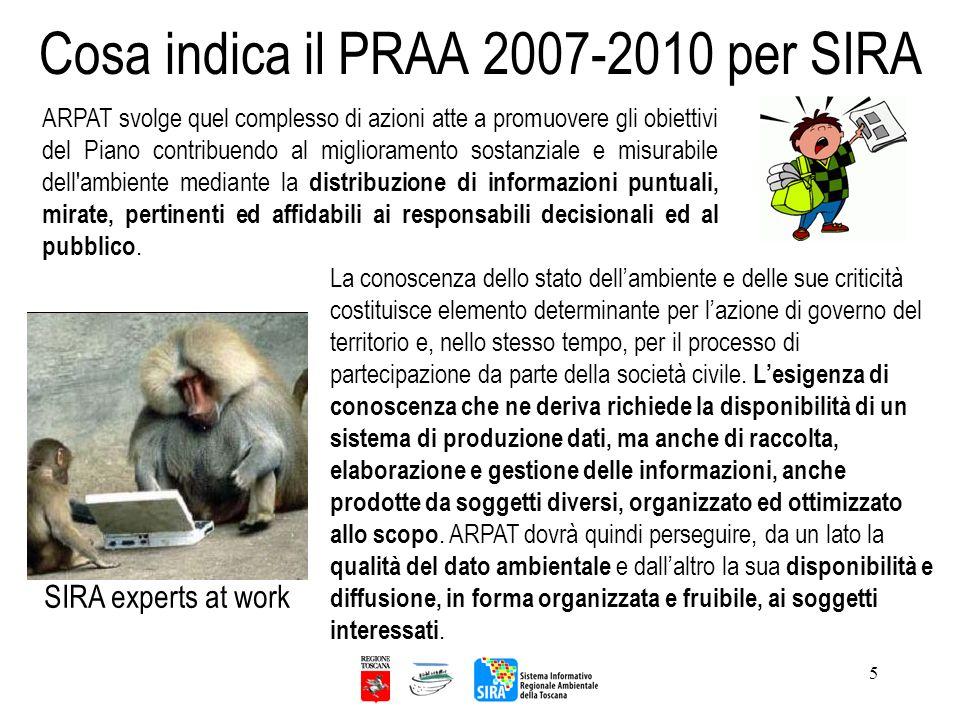 5 Cosa indica il PRAA 2007-2010 per SIRA ARPAT svolge quel complesso di azioni atte a promuovere gli obiettivi del Piano contribuendo al miglioramento