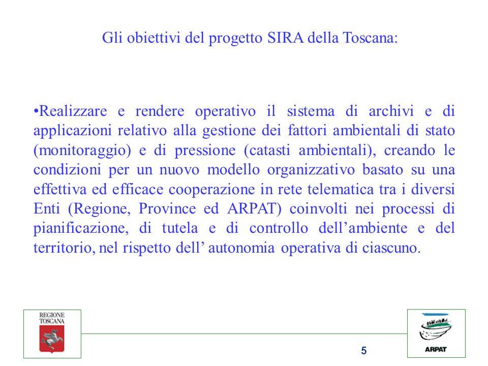 5 Gli obiettivi del progetto SIRA della Toscana: Realizzare e rendere operativo il sistema di archivi e di applicazioni relativo alla gestione dei fattori ambientali di stato (monitoraggio) e di pressione (catasti ambientali), creando le condizioni per un nuovo modello organizzativo basato su una effettiva ed efficace cooperazione in rete telematica tra i diversi Enti (Regione, Province ed ARPAT) coinvolti nei processi di pianificazione, di tutela e di controllo dellambiente e del territorio, nel rispetto dell autonomia operativa di ciascuno.