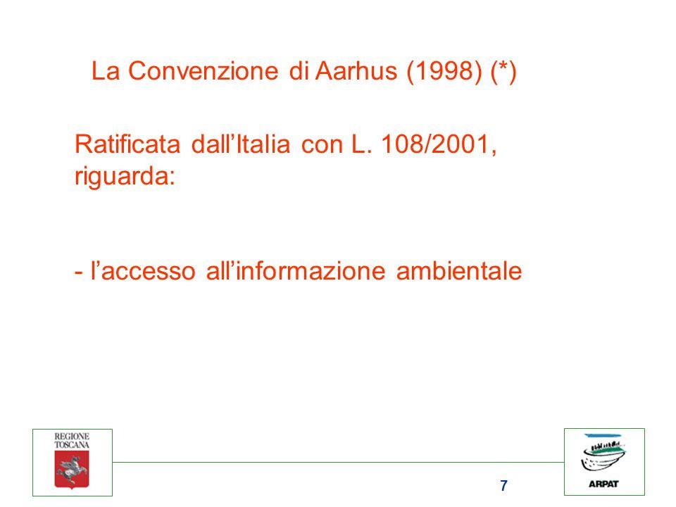 7 La Convenzione di Aarhus (1998) (*) Ratificata dallItalia con L.