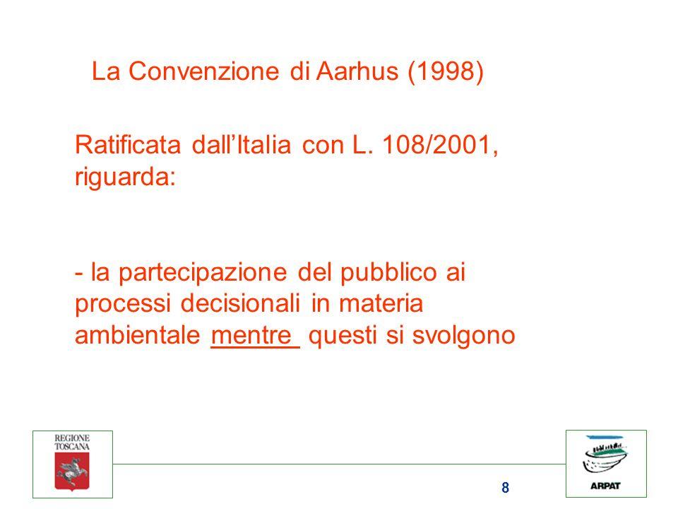 8 La Convenzione di Aarhus (1998) Ratificata dallItalia con L.