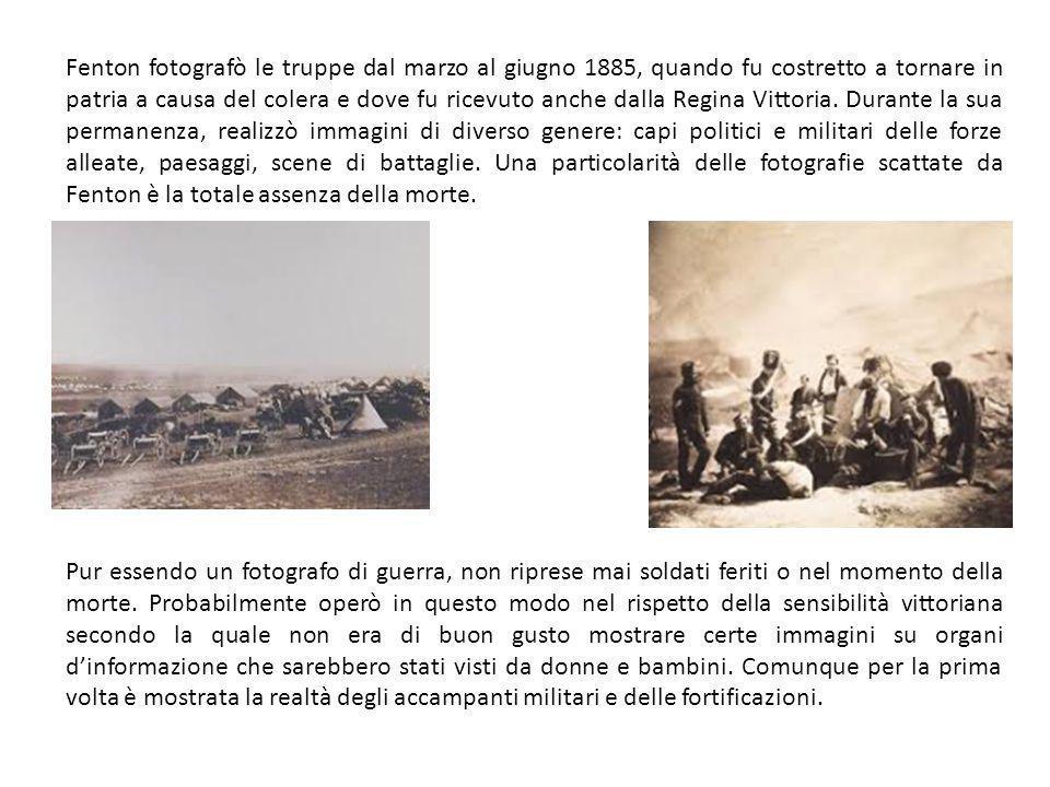 Fenton fotografò le truppe dal marzo al giugno 1885, quando fu costretto a tornare in patria a causa del colera e dove fu ricevuto anche dalla Regina Vittoria.