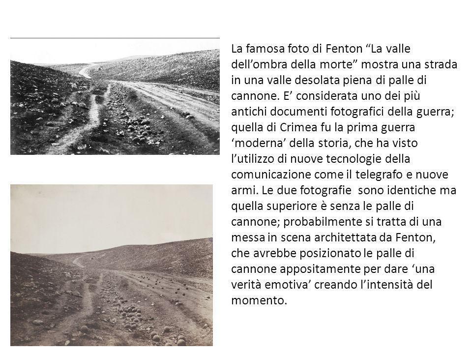 La famosa foto di Fenton La valle dellombra della morte mostra una strada in una valle desolata piena di palle di cannone. E considerata uno dei più a