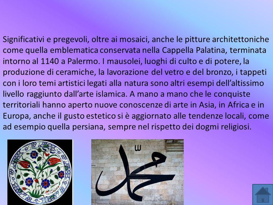 Significativi e pregevoli, oltre ai mosaici, anche le pitture architettoniche come quella emblematica conservata nella Cappella Palatina, terminata in