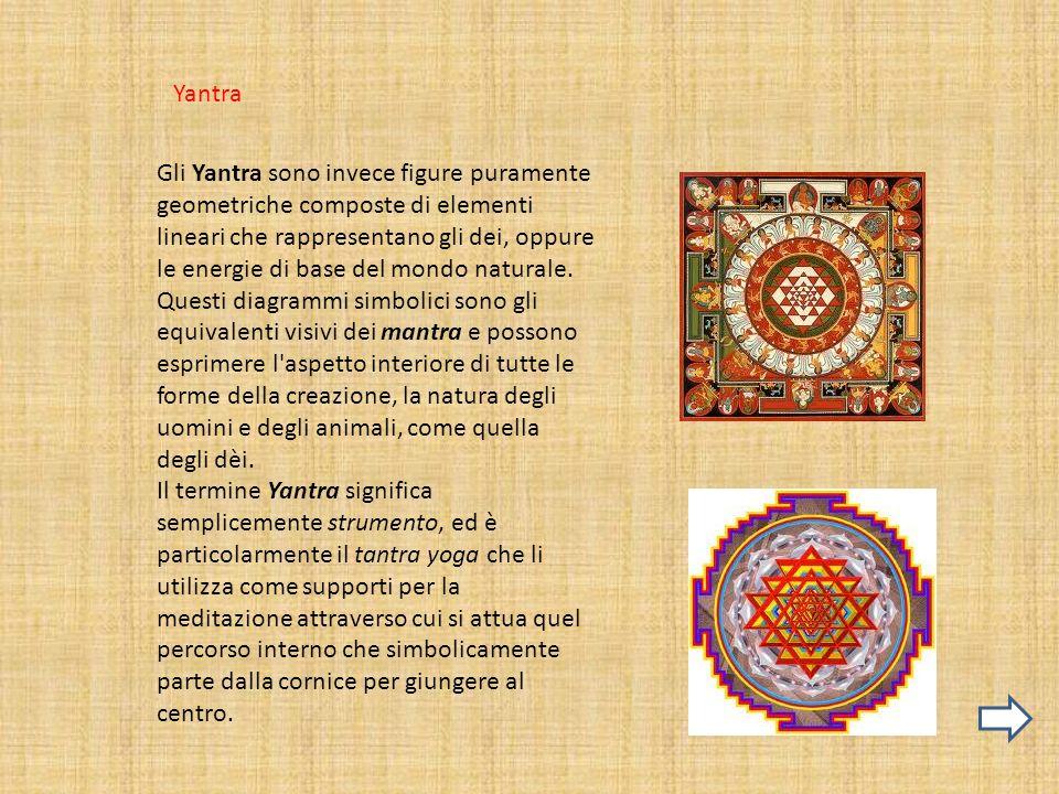 Yantra Gli Yantra sono invece figure puramente geometriche composte di elementi lineari che rappresentano gli dei, oppure le energie di base del mondo