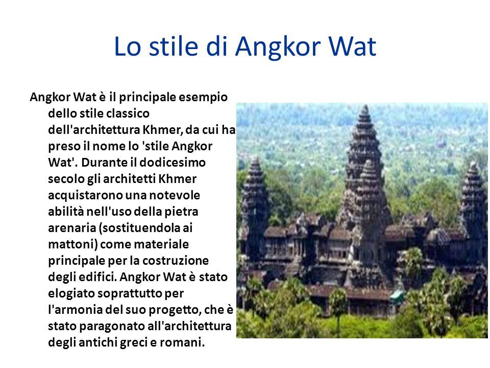 Lo stile di Angkor Wat Angkor Wat è il principale esempio dello stile classico dell'architettura Khmer, da cui ha preso il nome lo 'stile Angkor Wat'.