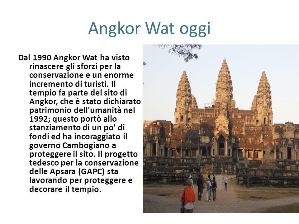 Angkor Wat oggi Dal 1990 Angkor Wat ha visto rinascere gli sforzi per la conservazione e un enorme incremento di turisti. Il tempio fa parte del sito