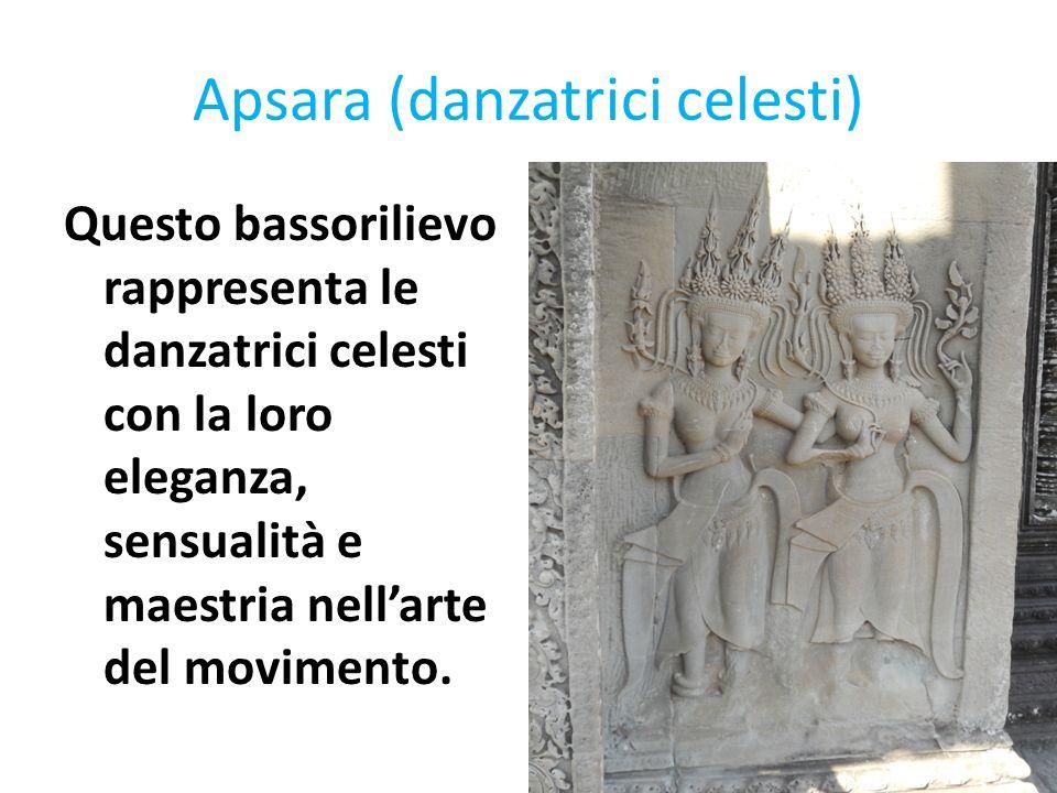 Apsara (danzatrici celesti) Questo bassorilievo rappresenta le danzatrici celesti con la loro eleganza, sensualità e maestria nellarte del movimento.