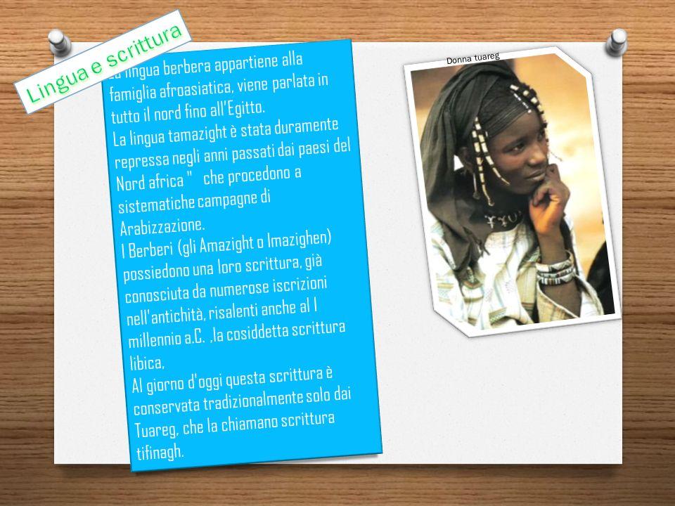 La lingua berbera appartiene alla famiglia afroasiatica, viene parlata in tutto il nord fino allEgitto. La lingua tamazight è stata duramente repressa