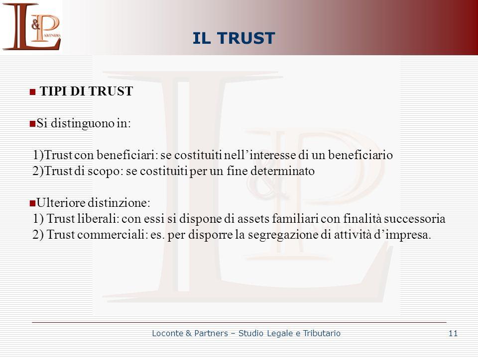 IL TRUST TIPI DI TRUST Si distinguono in: 1)Trust con beneficiari: se costituiti nellinteresse di un beneficiario 2)Trust di scopo: se costituiti per