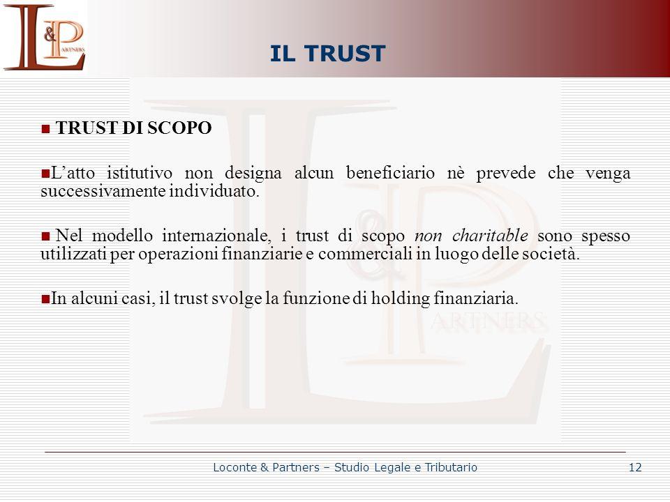 IL TRUST TRUST DI SCOPO Latto istitutivo non designa alcun beneficiario nè prevede che venga successivamente individuato. Nel modello internazionale,