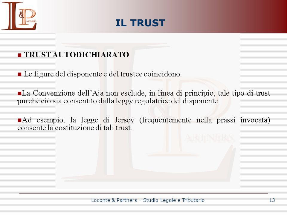 IL TRUST TRUST AUTODICHIARATO Le figure del disponente e del trustee coincidono. La Convenzione dellAja non esclude, in linea di principio, tale tipo