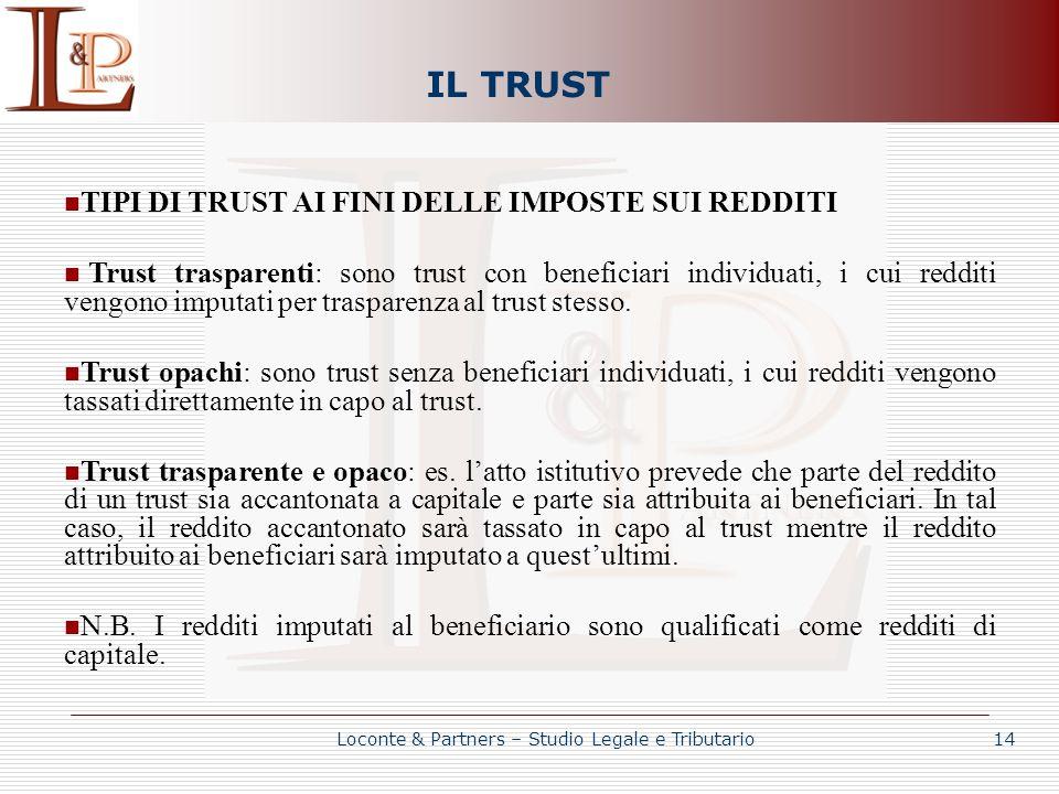IL TRUST TIPI DI TRUST AI FINI DELLE IMPOSTE SUI REDDITI Trust trasparenti: sono trust con beneficiari individuati, i cui redditi vengono imputati per