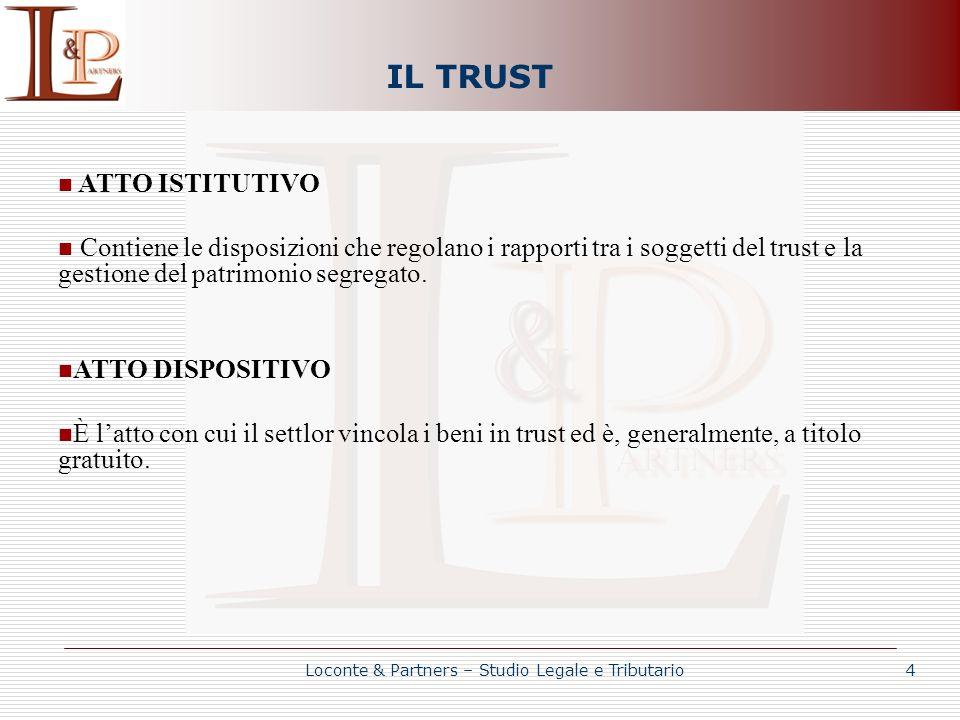 IL TRUST ATTO ISTITUTIVO Contiene le disposizioni che regolano i rapporti tra i soggetti del trust e la gestione del patrimonio segregato. ATTO DISPOS
