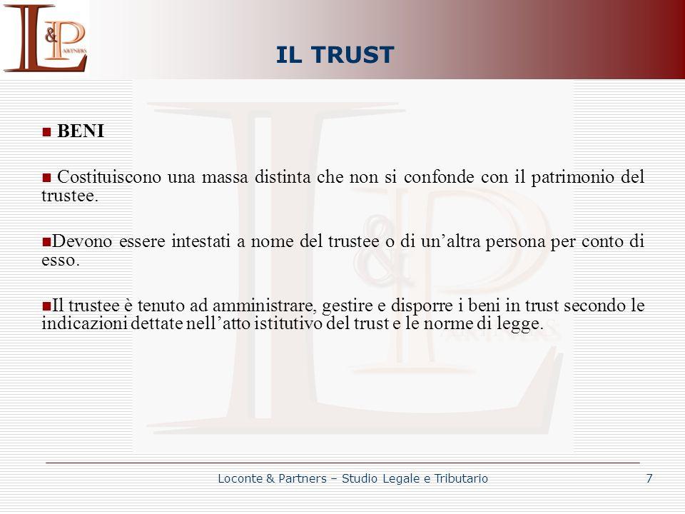 IL TRUST BENI Costituiscono una massa distinta che non si confonde con il patrimonio del trustee. Devono essere intestati a nome del trustee o di unal
