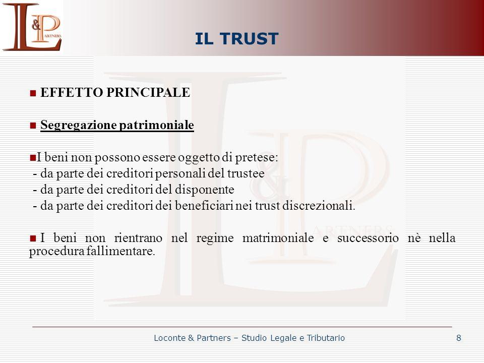 IL TRUST EFFETTO PRINCIPALE Segregazione patrimoniale I beni non possono essere oggetto di pretese: - da parte dei creditori personali del trustee - d