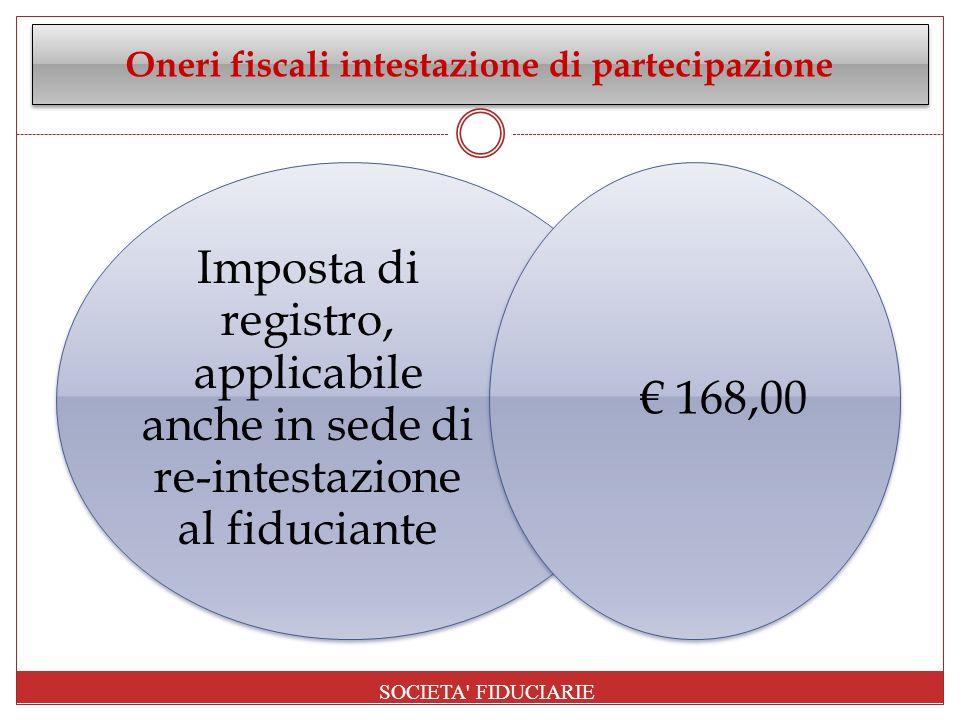 Oneri fiscali intestazione di partecipazione Imposta di registro, applicabile anche in sede di re-intestazione al fiduciante 168,00 SOCIETA' FIDUCIARI