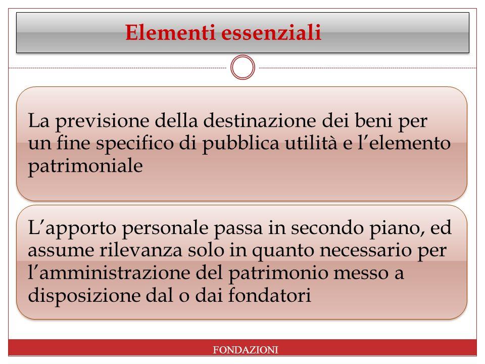 Elementi essenziali La previsione della destinazione dei beni per un fine specifico di pubblica utilità e lelemento patrimoniale Lapporto personale pa