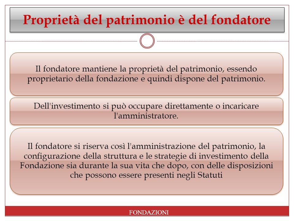 Proprietà del patrimonio è del fondatore Il fondatore mantiene la proprietà del patrimonio, essendo proprietario della fondazione e quindi dispone del