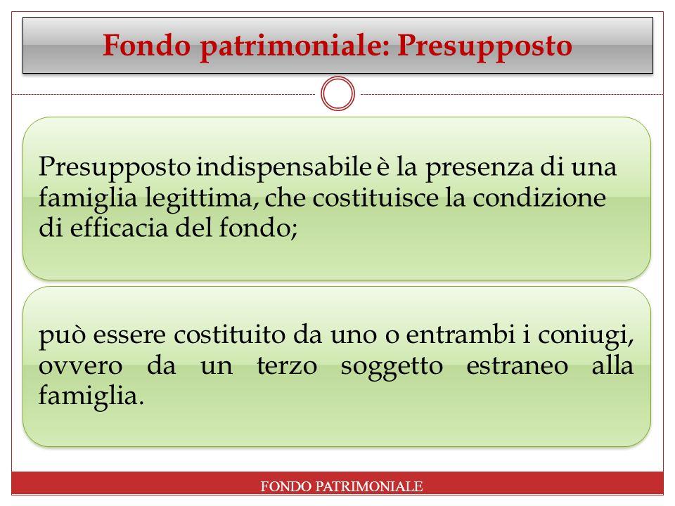 Fondo patrimoniale: Presupposto Presupposto indispensabile è la presenza di una famiglia legittima, che costituisce la condizione di efficacia del fon