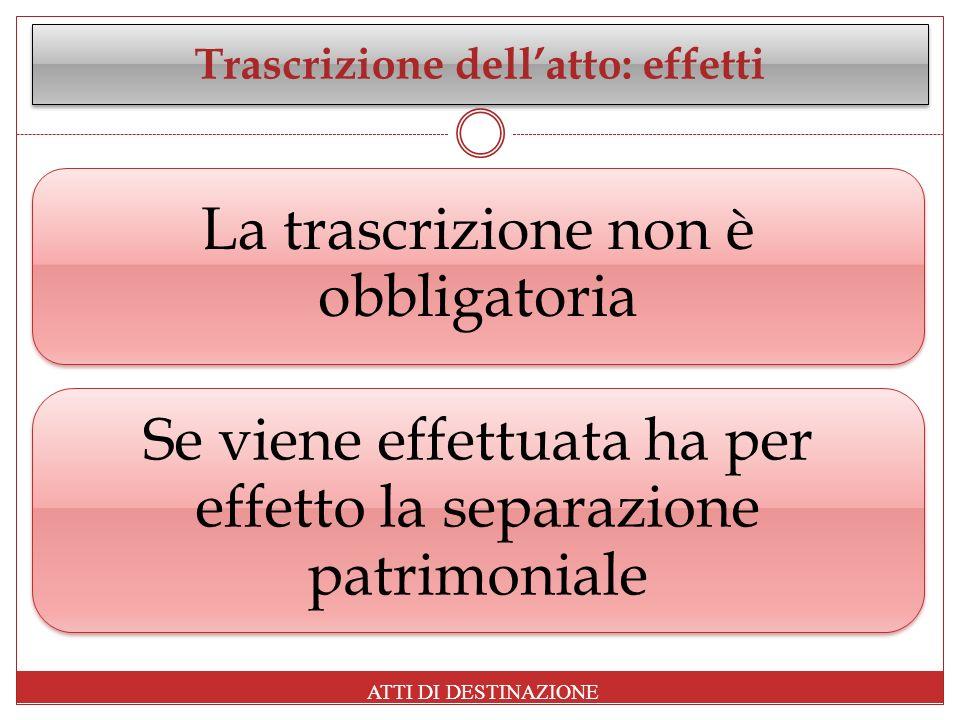 Trascrizione dellatto: effetti La trascrizione non è obbligatoria Se viene effettuata ha per effetto la separazione patrimoniale ATTI DI DESTINAZIONE