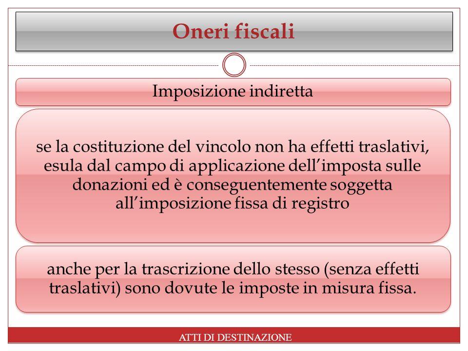 Oneri fiscali Imposizione indiretta se la costituzione del vincolo non ha effetti traslativi, esula dal campo di applicazione dellimposta sulle donazi