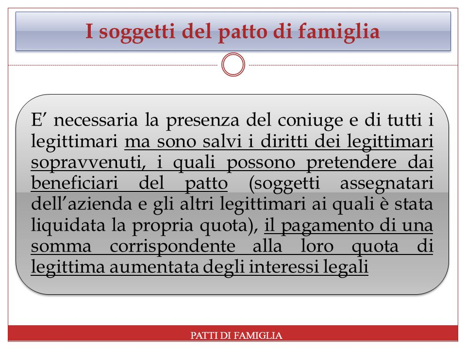 I soggetti del patto di famiglia E necessaria la presenza del coniuge e di tutti i legittimari ma sono salvi i diritti dei legittimari sopravvenuti, i
