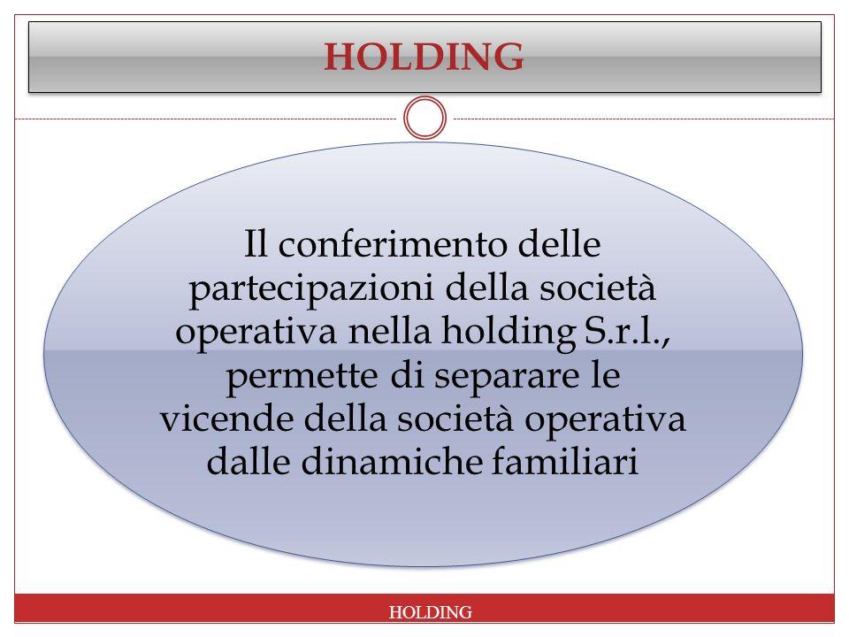 Il conferimento delle partecipazioni della società operativa nella holding S.r.l., permette di separare le vicende della società operativa dalle dinam