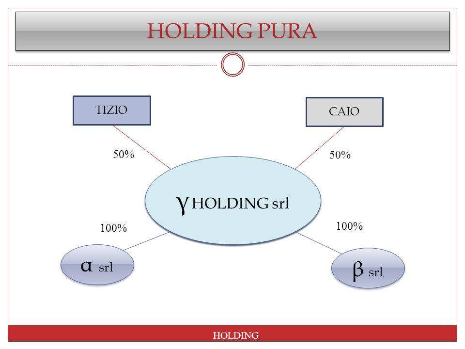HOLDING PURA α srl β sr l TIZIO CAIO γ HOLDING srl HOLDING 50% 100%