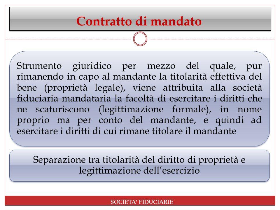 Contratto di mandato Strumento giuridico per mezzo del quale, pur rimanendo in capo al mandante la titolarità effettiva del bene (proprietà legale), v