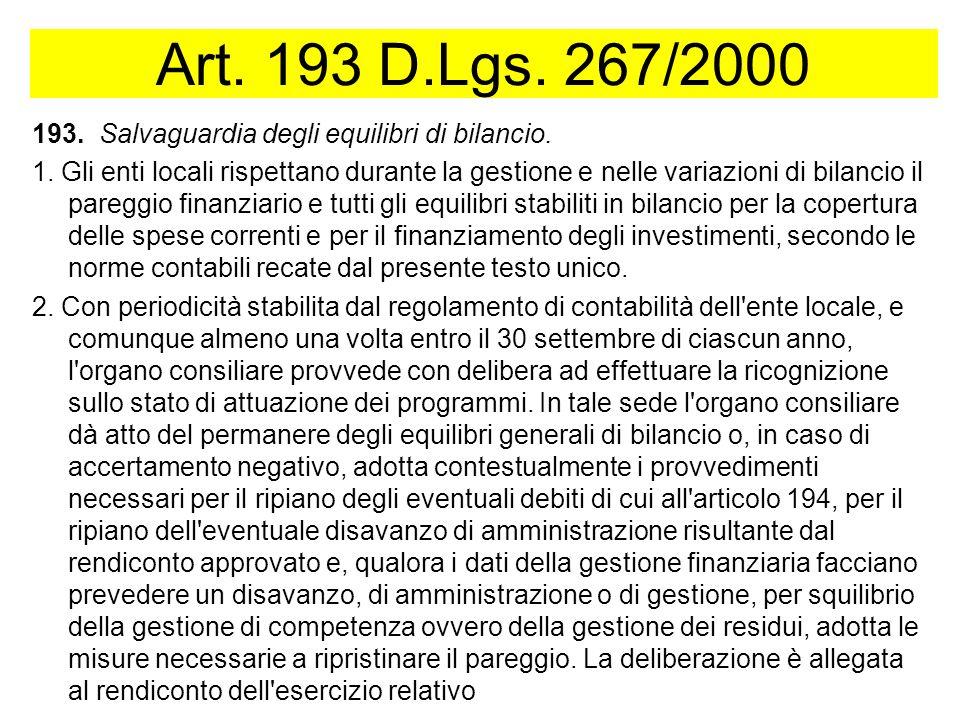Art. 193 D.Lgs. 267/2000 193. Salvaguardia degli equilibri di bilancio.