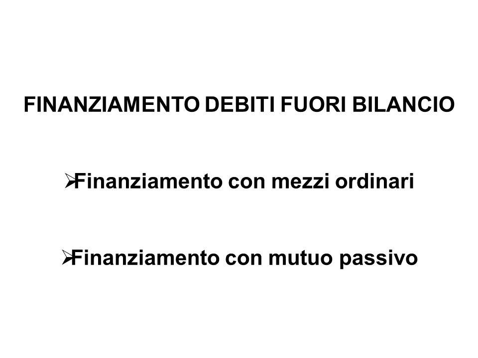 FINANZIAMENTO DEBITI FUORI BILANCIO Finanziamento con mezzi ordinari Finanziamento con mutuo passivo