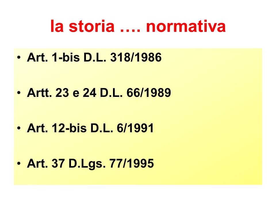 la storia …. normativa Art. 1-bis D.L. 318/1986 Artt.