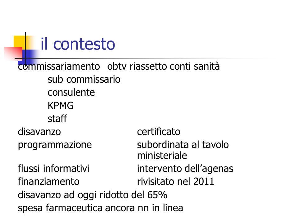 il contesto commissariamentoobtv riassetto conti sanità sub commissario consulente KPMG staff disavanzo certificato programmazionesubordinata al tavol