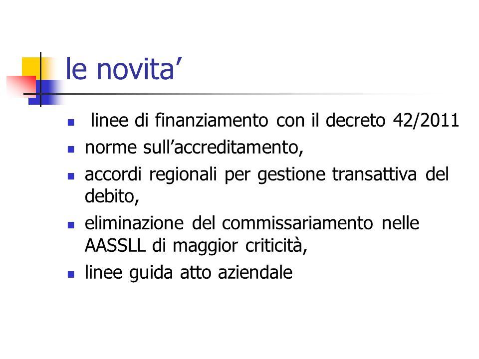 le novita linee di finanziamento con il decreto 42/2011 norme sullaccreditamento, accordi regionali per gestione transattiva del debito, eliminazione